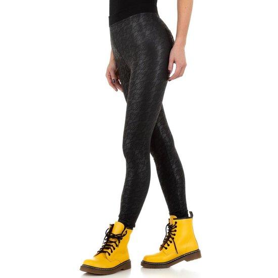 Fashion zwarte legging met motief.