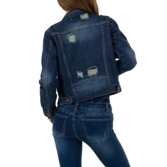 Korte destroyed jeans vest.