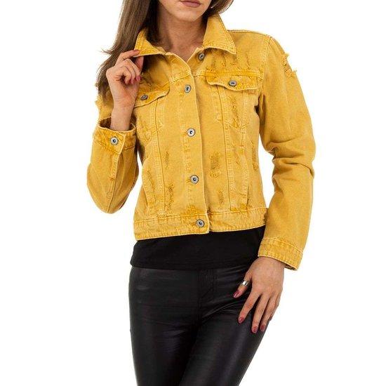 Gele korte jeans vest.SOLD OUT