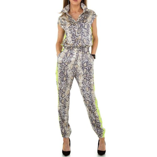 Hippe beige jumpsuit met print.SOLD OUT