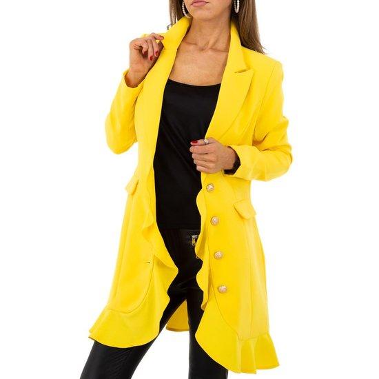 Trendy gele 3/4 blazer.