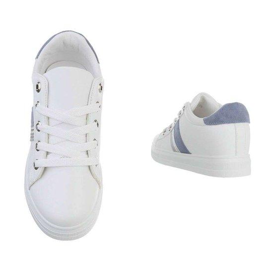 Wit-blauwe hoge sneaker Kila.