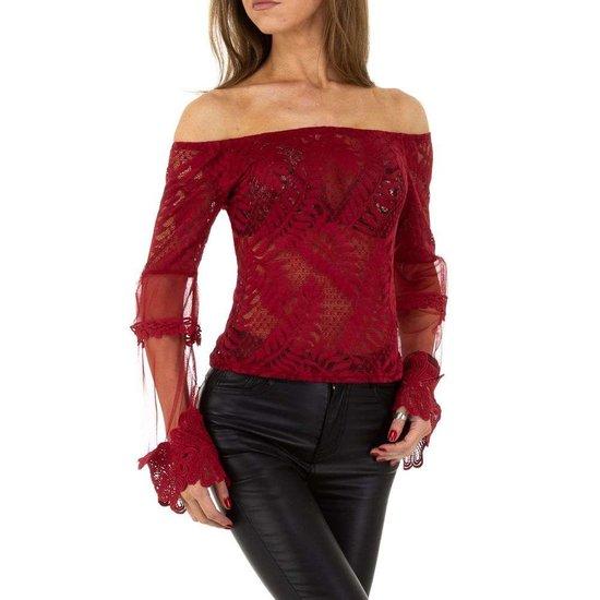 Trendy bordeaux  shoulder off blouse.