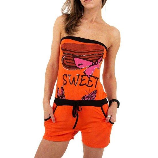 Hippe oranje romper met motief.
