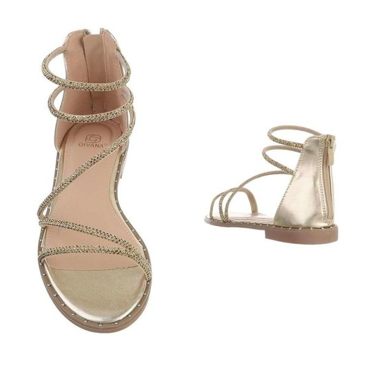 Trendy lage gouden sandaal Astrid.