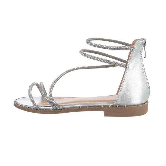 Trendy lage zilveren sandaal Astrid.