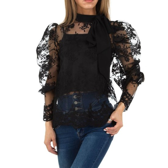 Chique zwarte blouse met strik.