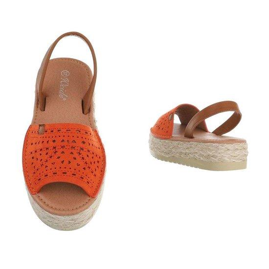 Trendy oranje platform sandaal Herma.