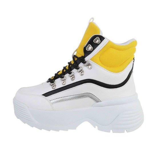 Hoge wit-gele sneaker/boot Nada.