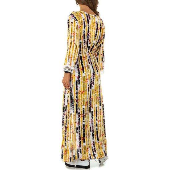 Trendy gele maxi kimono .
