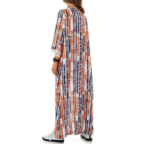 Trendy oranje maxi kimono.
