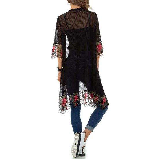 Transparante zwarte kimono.