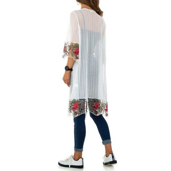 Transparante witte kimono.