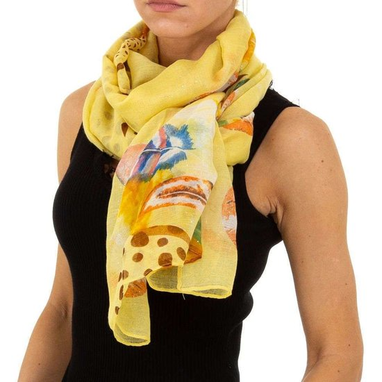 Lichte gele mix sjaal met pluimdecoratie.