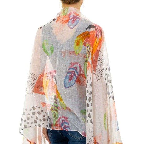 Lichte rose mix sjaal met pluimdecoratie.