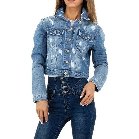 Korte jeans jacket destroyed.