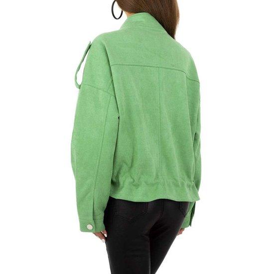 Oversized groene korte jas in velours.