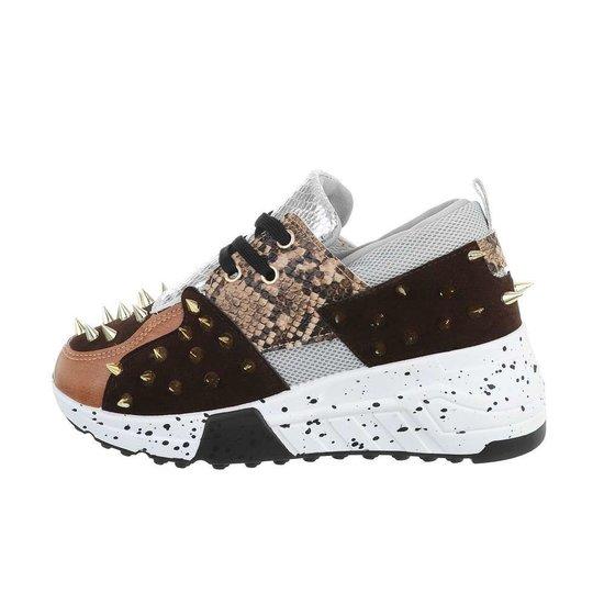 Fashion bruine lage sneaker Orea.