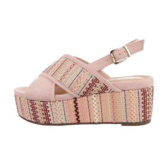 Rose sandaal met sleehak Lela.