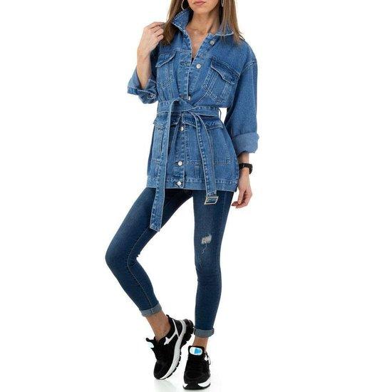 Trendy midi blue jeans jas.