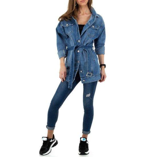 Hippe midi blue jeans jas.