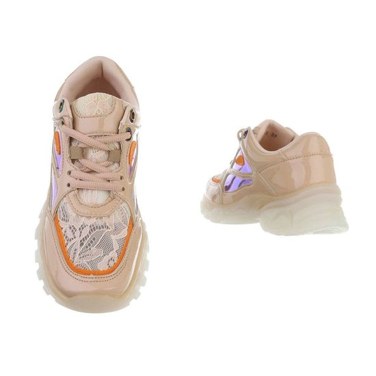 Beige-rose lage sneaker Freia.