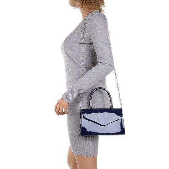 Kleine donker blauwe lak schoudertas.