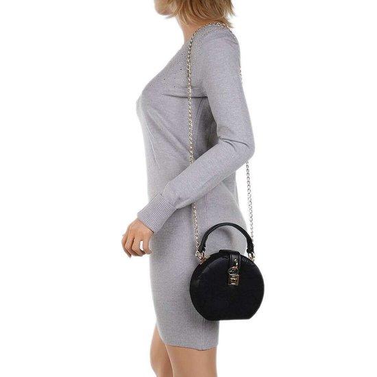 Trendy zwarte ronde kleine schoudertas.