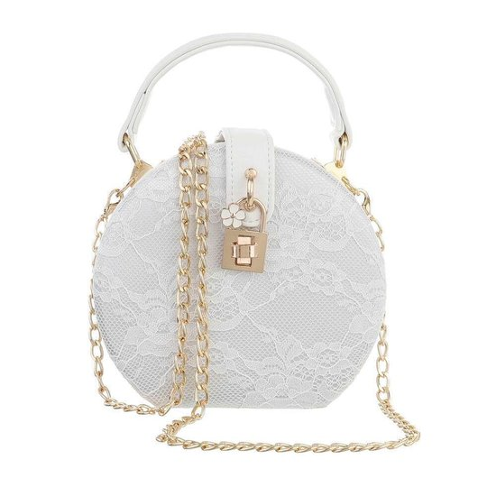 Trendy witte ronde kleine schoudertas.