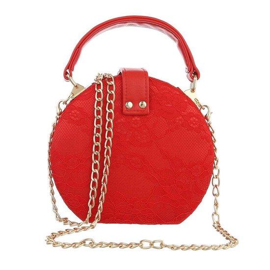Trendy rode ronde kleine schoudertas.