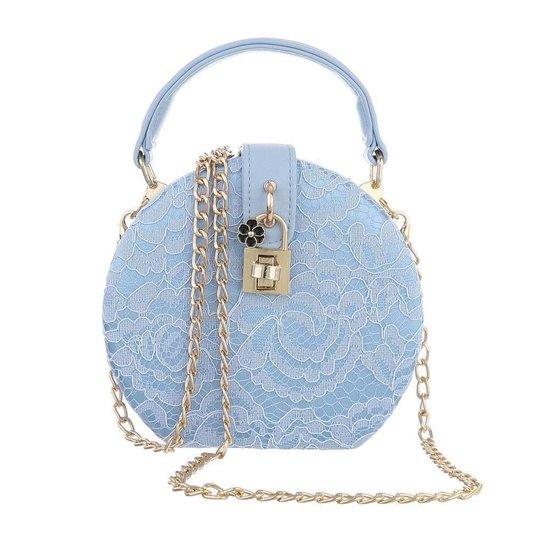 Trendy blauwe ronde kleine schoudertas.