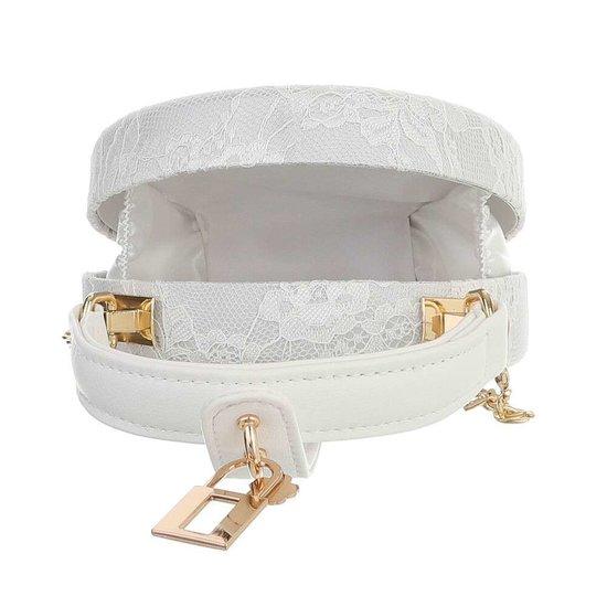Trendy off white ronde kleine schoudertas.