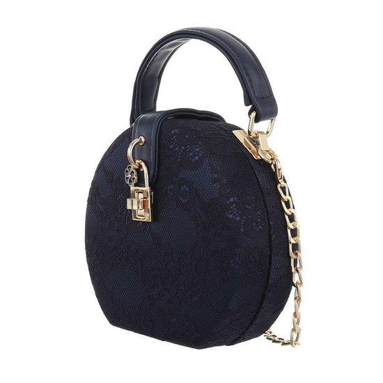 Trendy donker blauw ronde kleine schoudertas.