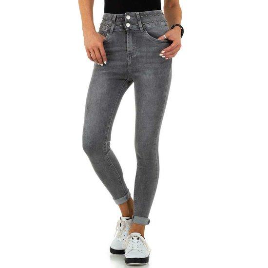 Fashion grijze hoge taille jeans.