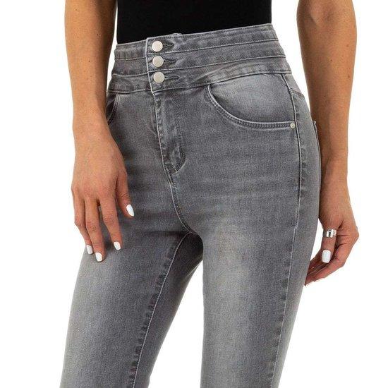 Hippe grijze hoge taille jeans.