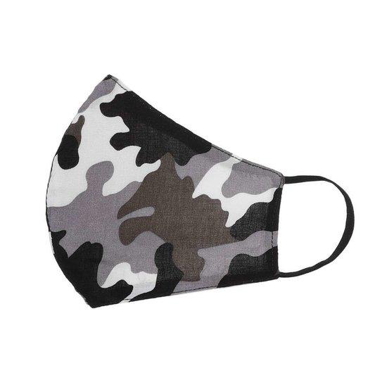 Grijs camouflage mondmasker.