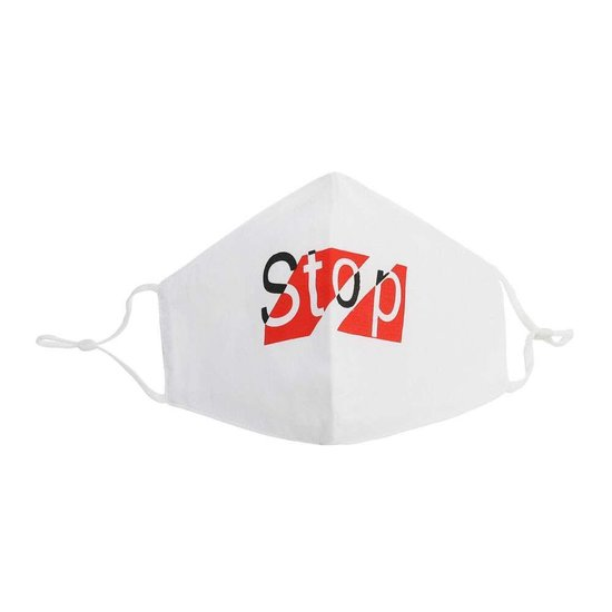 Wit mondmasker stop.