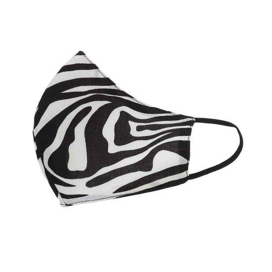 Zwart/wit mondmasker met print.