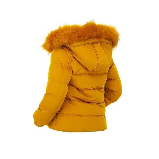 Gele gewatteerde kinderjas met print.