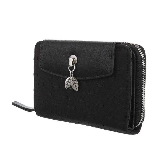 Zwarte portemonne met rechthoekig motief.