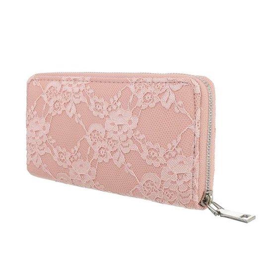 Rose portemonne met bloem motief.