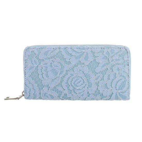 Blauwe portemonne met bloem motief.