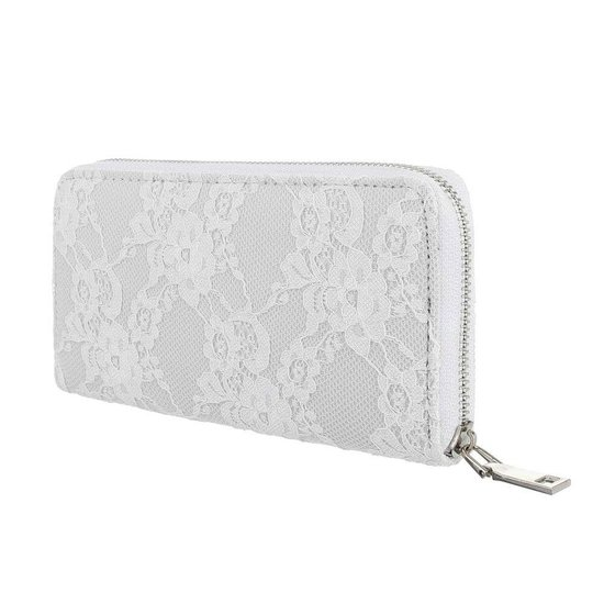 Witte portemonne met bloem motief.