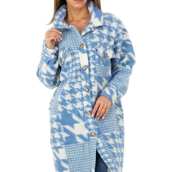 Blauwe oversized maxi cardigan.