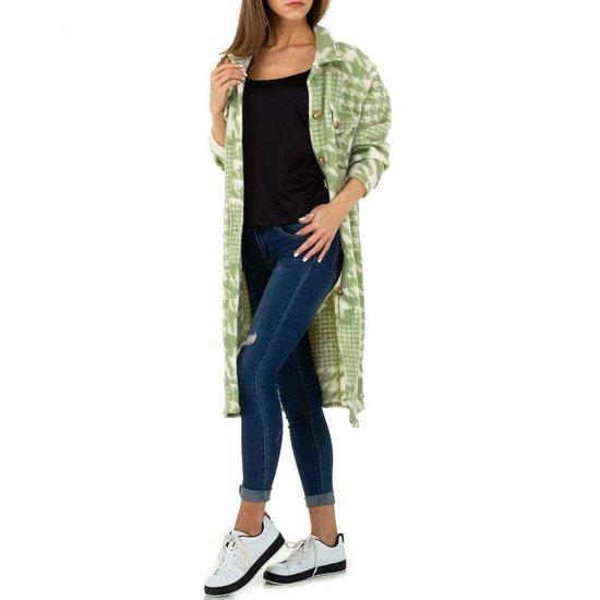 Groene oversized maxi cardigan.