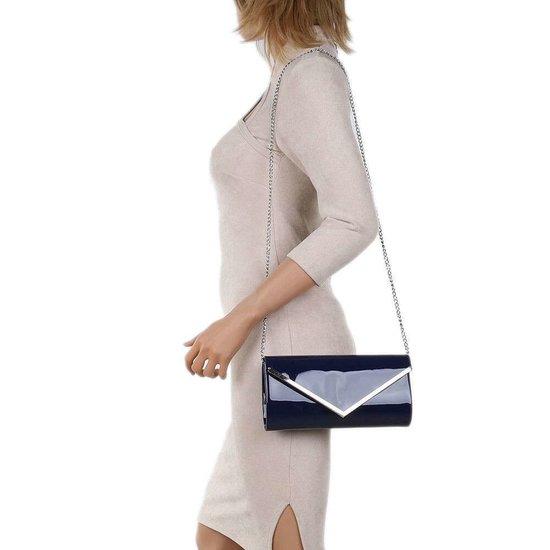 Classy donker blauwe lak clutchbag.SOLD OUT