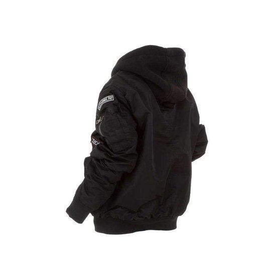 Coole zwarte korte jongens winterjas.