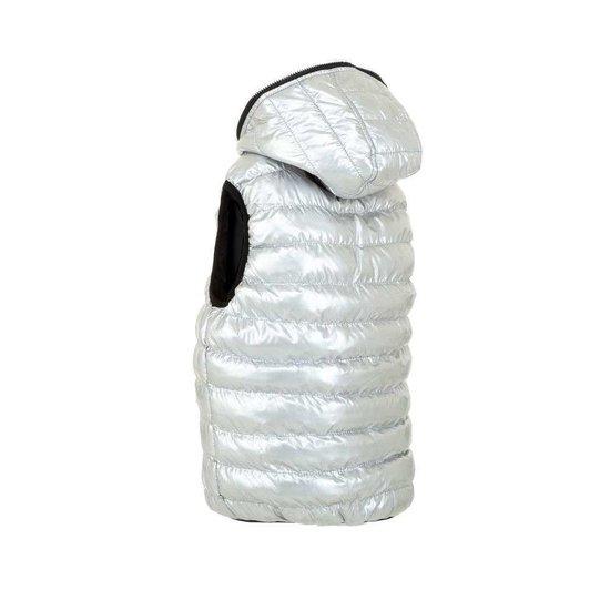 Zilveren gewatteerde reversible jongens bodywarmer.Model 1