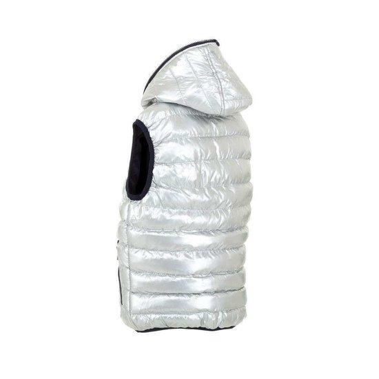 Zilveren gewatteerde reversible jongens bodywarmer.Model 3