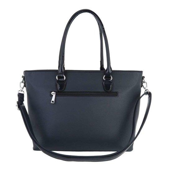 Classy donker blauwe schopperbag.